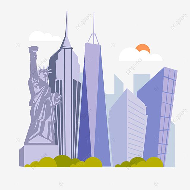 purple realistic new york city silhouette
