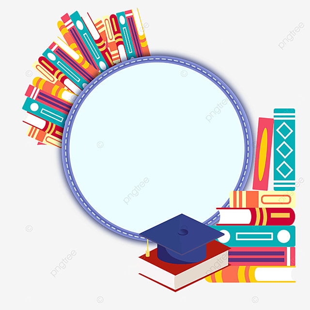 purple round book bachelor hat border