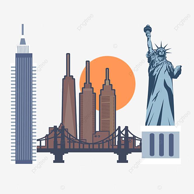 realistic minimalist style new york city silhouette