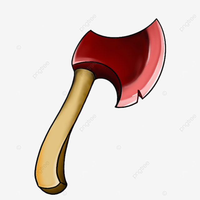 realistic style red axe clipart