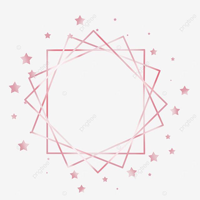 rose gold star metal line border