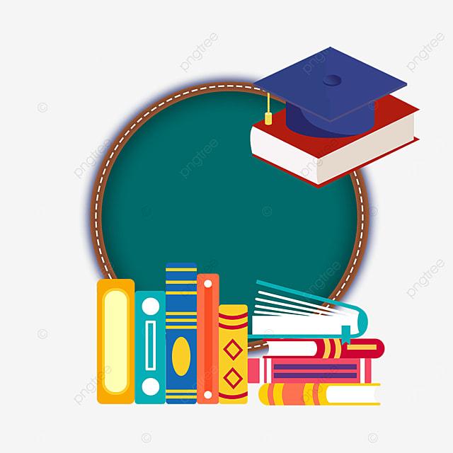 round blackboard book bachelor hat border