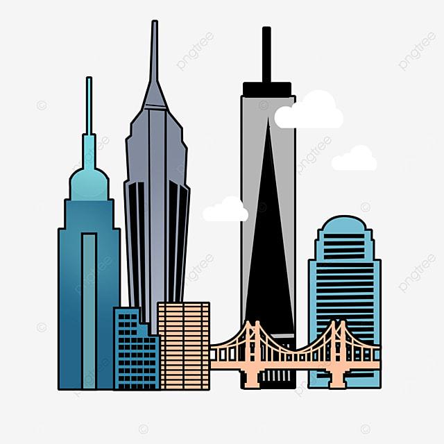 stroke style bustling new york city silhouette