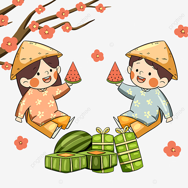 traditional vietnamese new year festival characters
