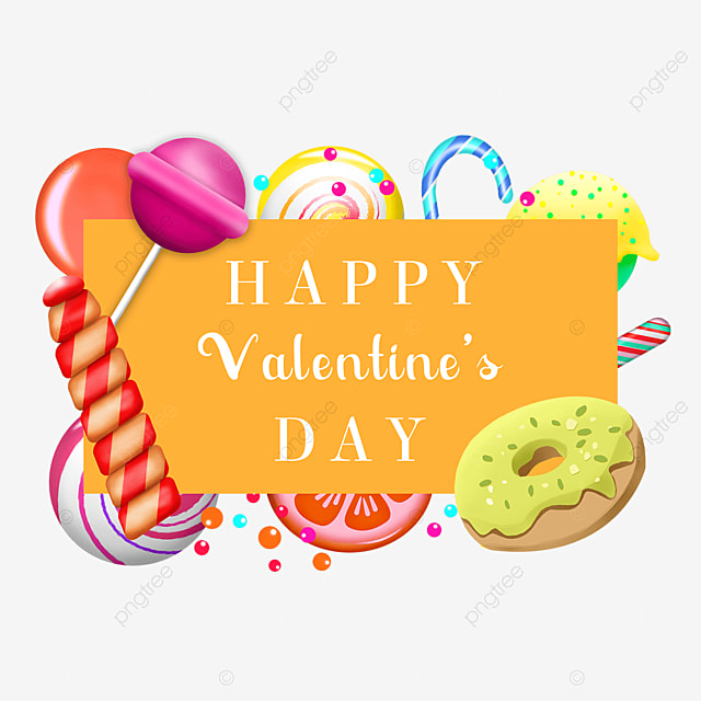 valentines day candy border yellow