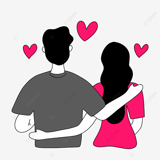 valentines day line character illustration of couple holding each other