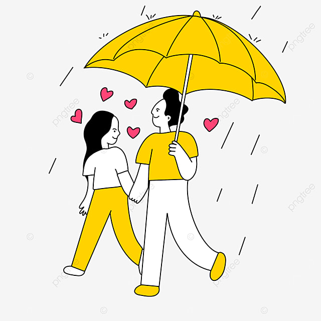 valentines day line character illustration of couple holding yellow umbrella