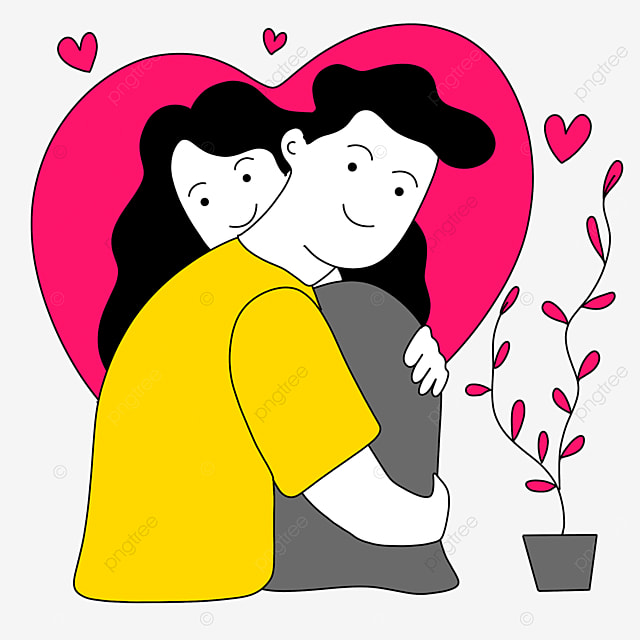 valentines day line character illustration of couple hugging each other