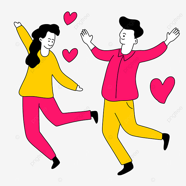 valentines day line character illustration of couple jumping with open arms
