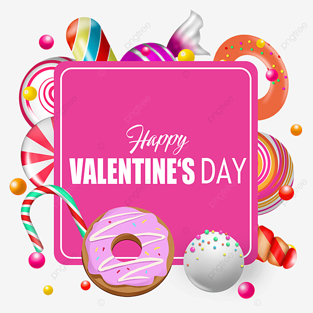 valentines day pink border candy