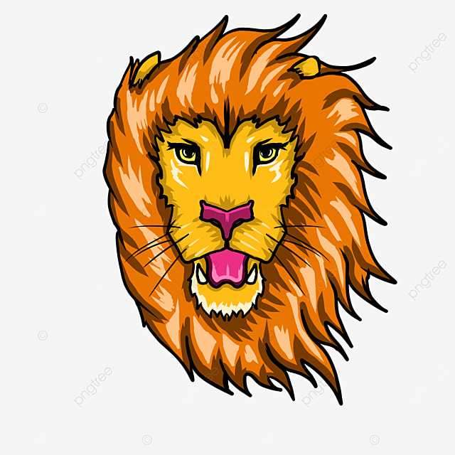 warm color frontal lion head clip art