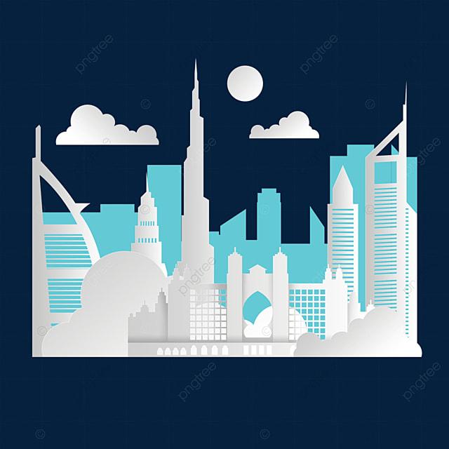 white dubai city silhouette