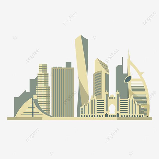 yellow dubai city silhouette