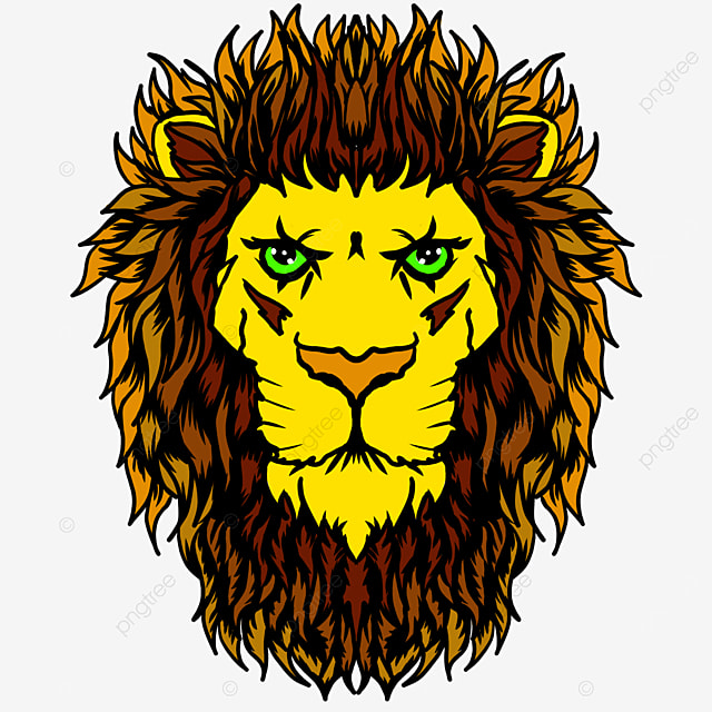 yellow frontal lion head clipart