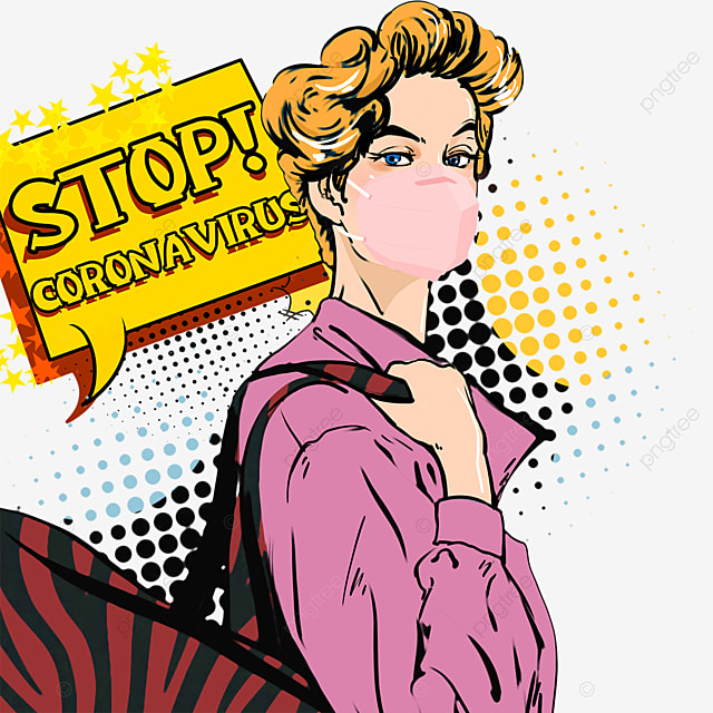 yellow haired new coronavirus pop up woman wearing pink mask