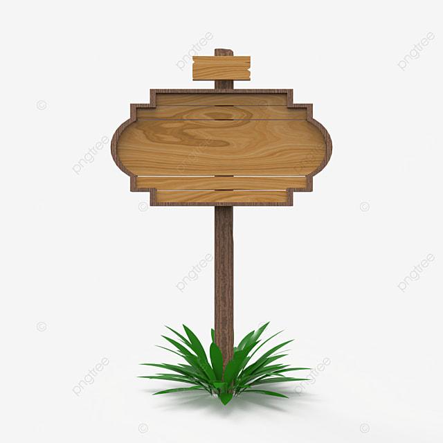 3d render wooden sign post