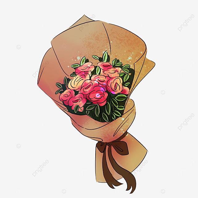 beige rose flower bow bouquet clipart