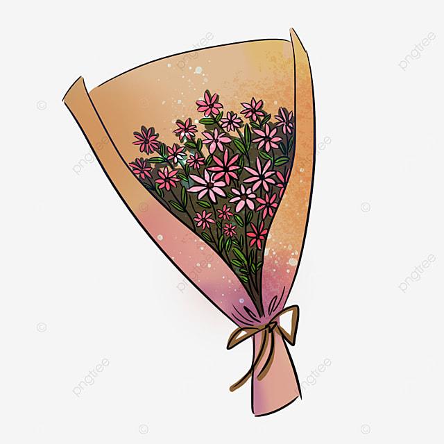 beige wild daisy bow bouquet clipart