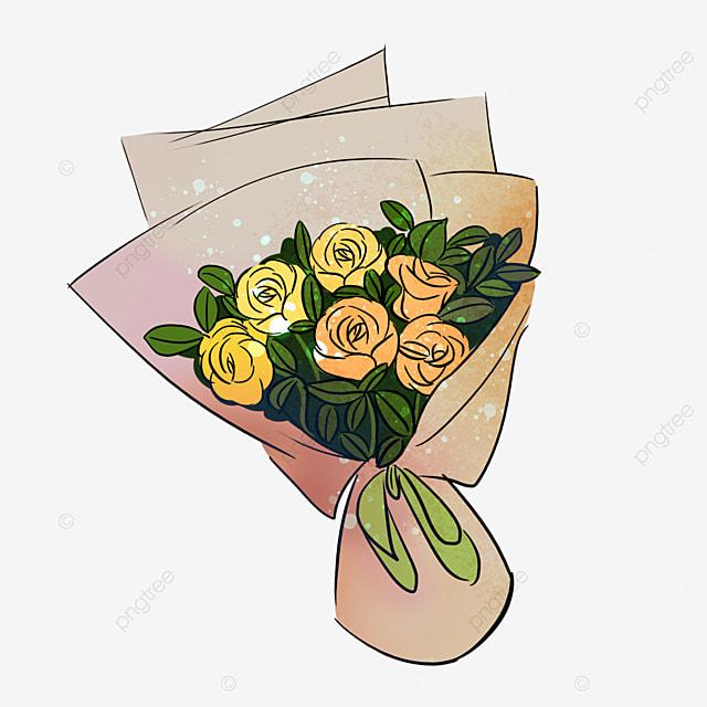 beige yellow rose rose flower bouquet clipart