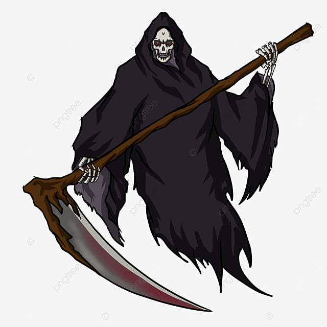 black robe bloodstained sickle grim reaper clipart