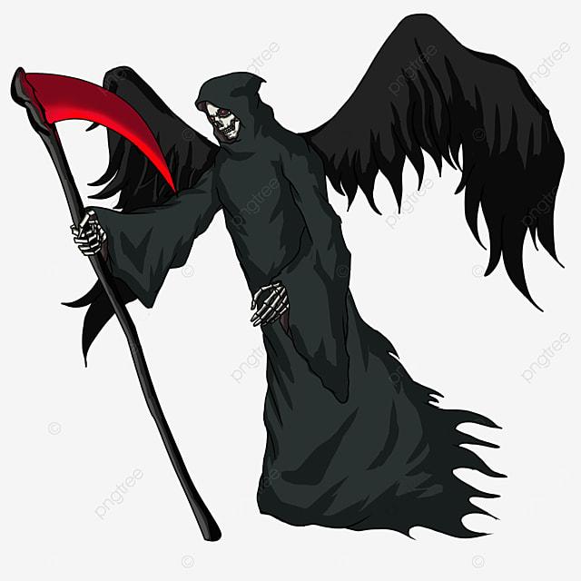 black wing red blade scythe grim reaper clip art