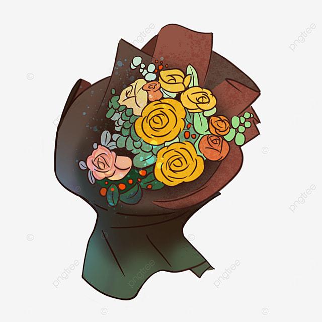 brown yellow rose briar bouquet clipart