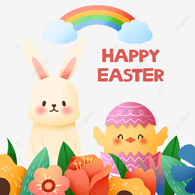 celebrating easter bunny and chicks