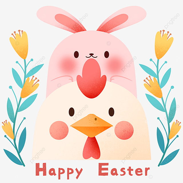celebrating easter cartoon chick and bunny