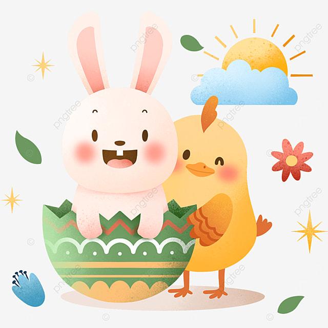 celebrating easter cartoon egg bunny
