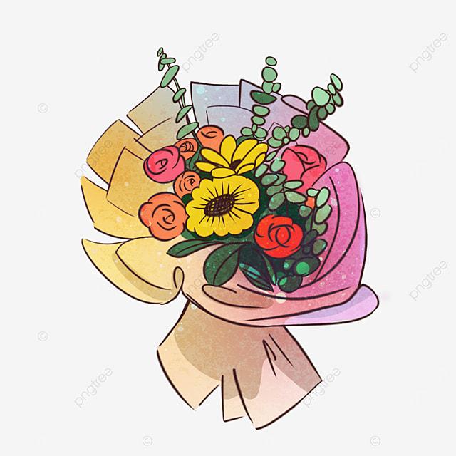 color rose sun flower bouquet clipart