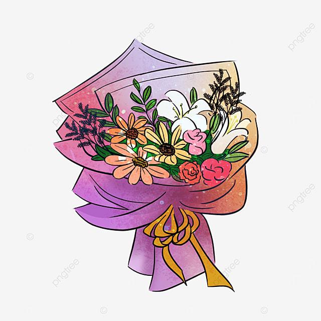 colorful lilies lavender bouquet clipart