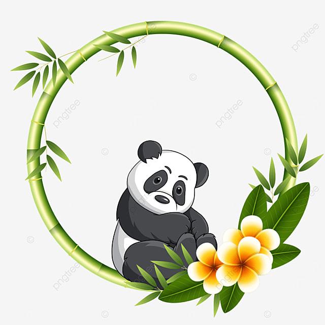 cute panda round bamboo floral border