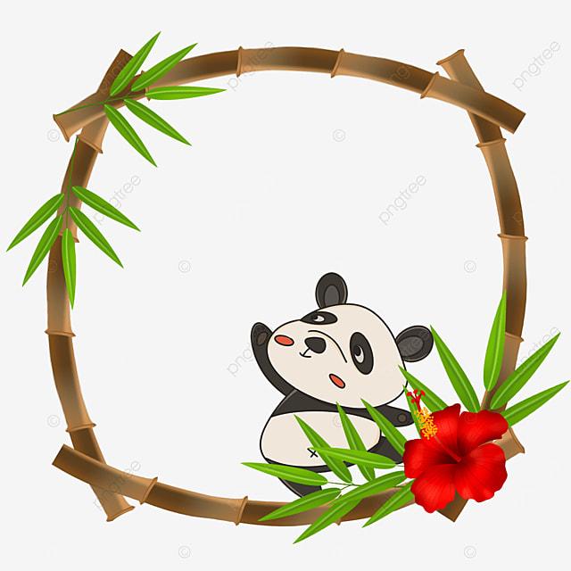 dancing panda bamboo floral border