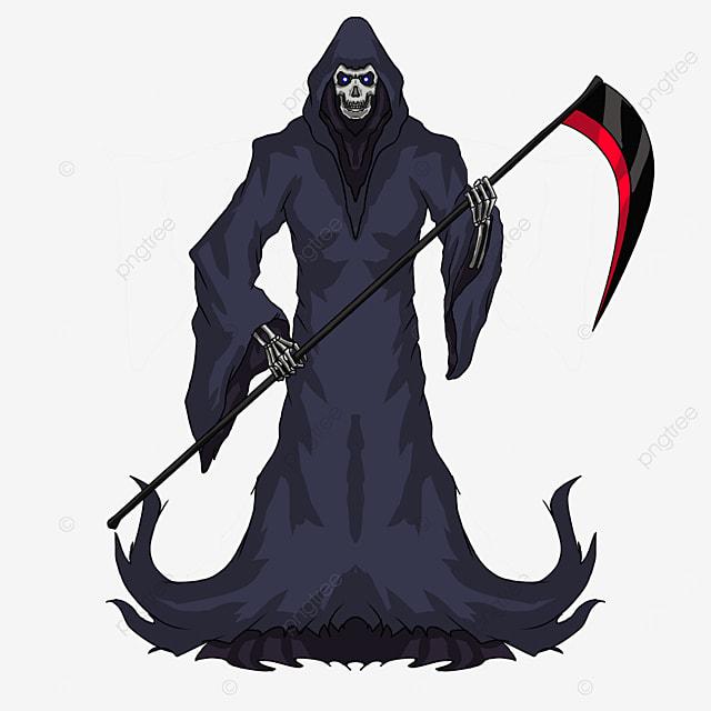 dark blue gray robe red blade sickle grim reaper clipart