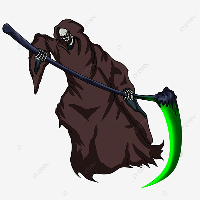 dark brown robe soul sickle grim reaper clipart