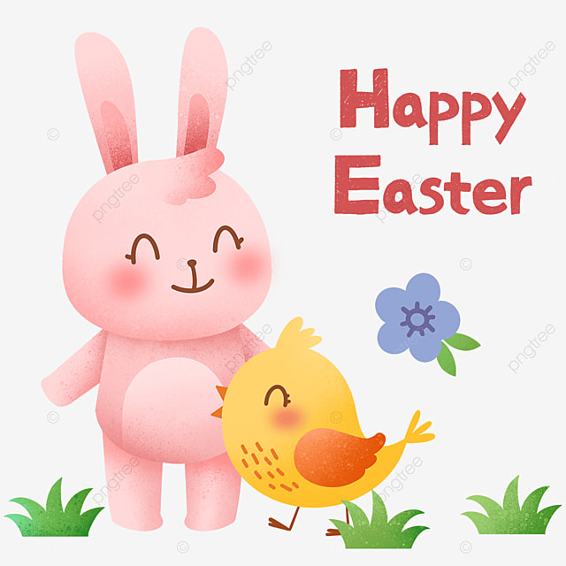 easter cartoon bunny and chick
