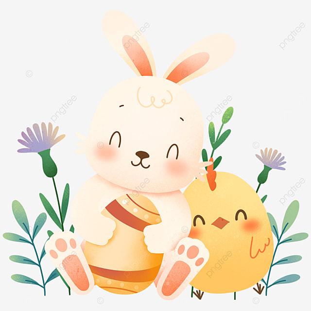 easter cartoon bunny holding egg