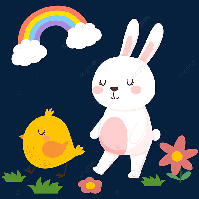easter cartoon cute bunny and chick
