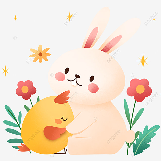 easter cartoon warm bunny and chick