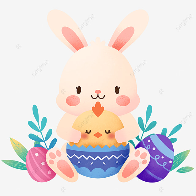easter cute bunny and chicks