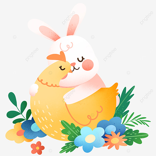 easter cute bunny hugging chick