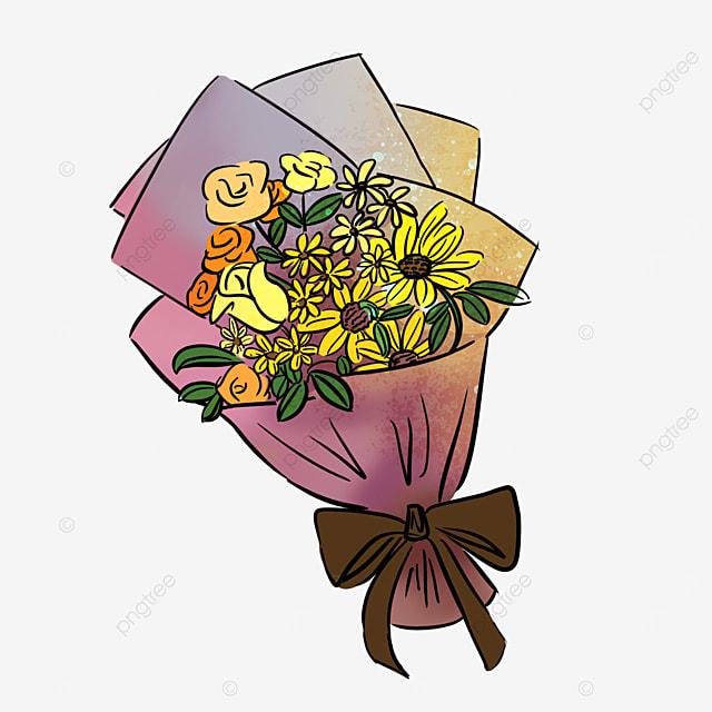 golden sun flower yellow rose flower bouquet clip art