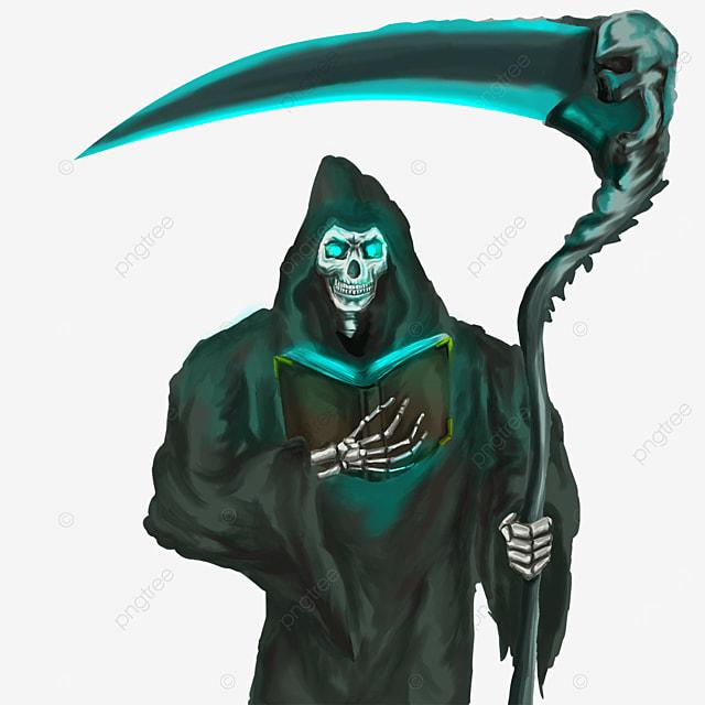 grim reaper holding a soul book clip art