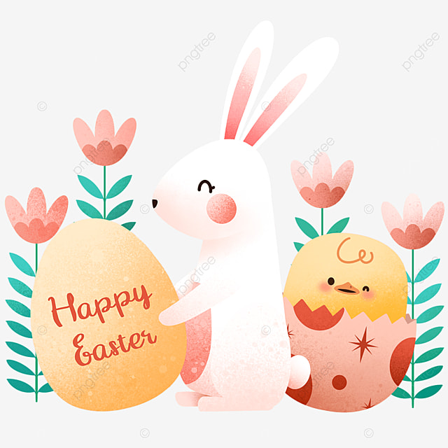 happy easter cartoon bunny and chick