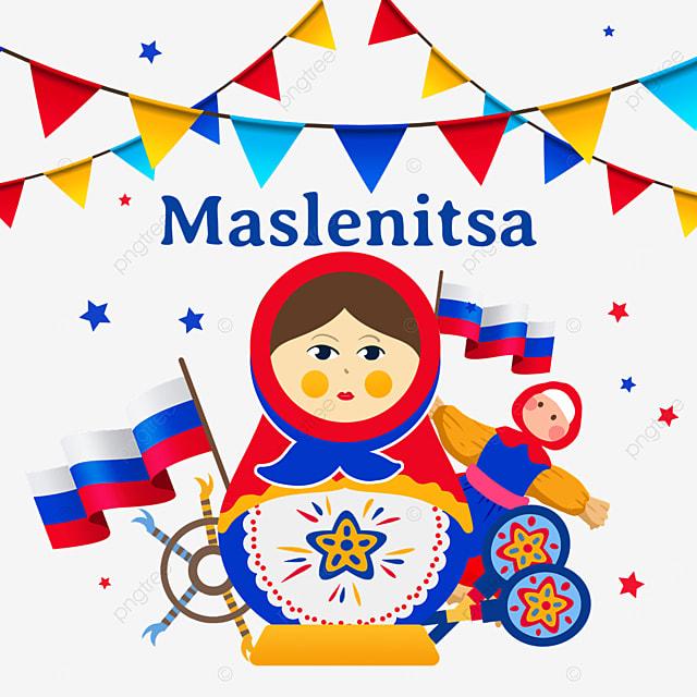 illustration of matryoshka dolls and flag of russia