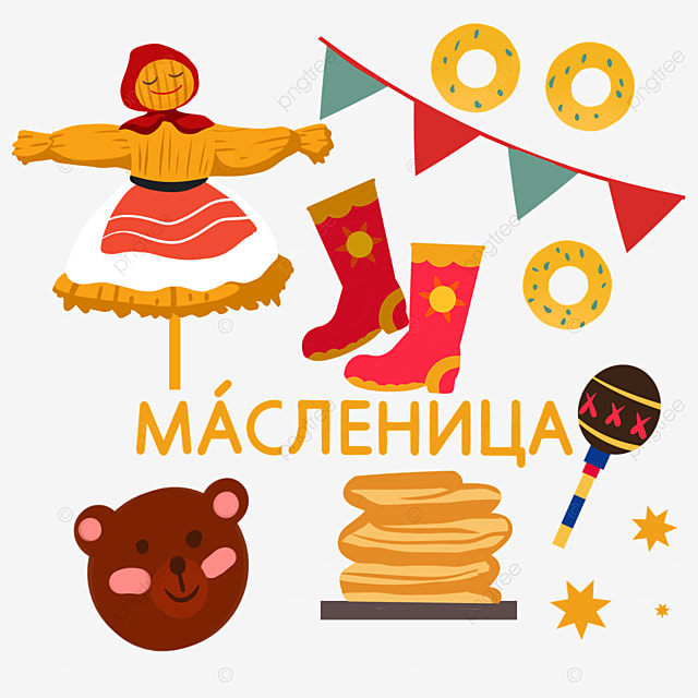 illustration of scarecrow and red boots on russian festival