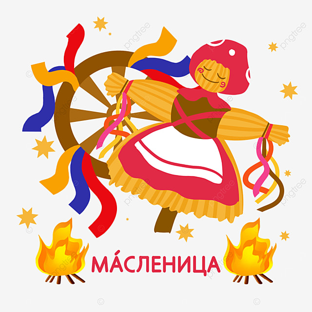illustration of scarecrow in red skirt for russian mass festival