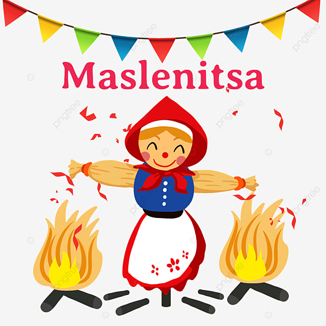illustration of straw dolls and bonfire for russian maslenitsa