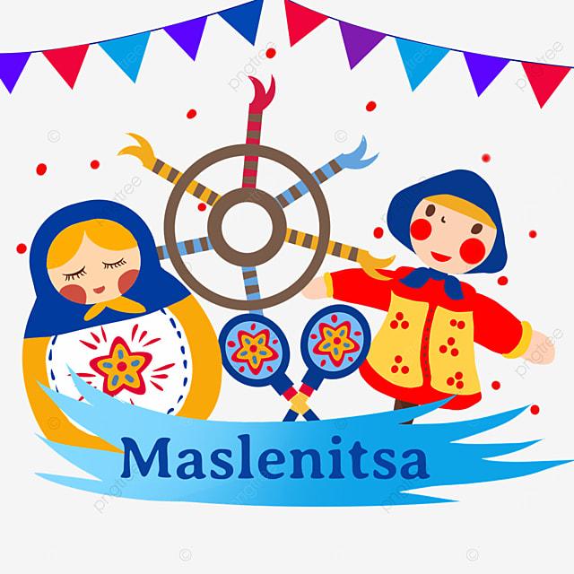 illustrations of matryoshka and straw dolls on russian maslenitsa