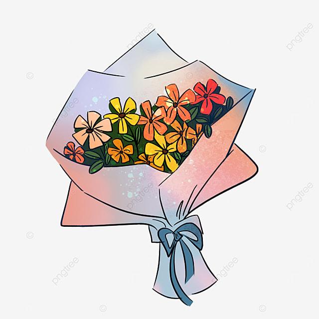 orange sun flower bow bouquet clipart